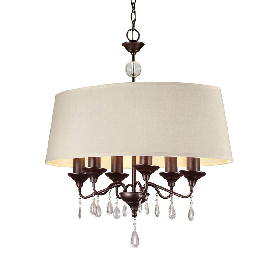 Sea Gull Lighting West Town 29-in 6-Light Burnt Sienna Vintage Drum Chandelier