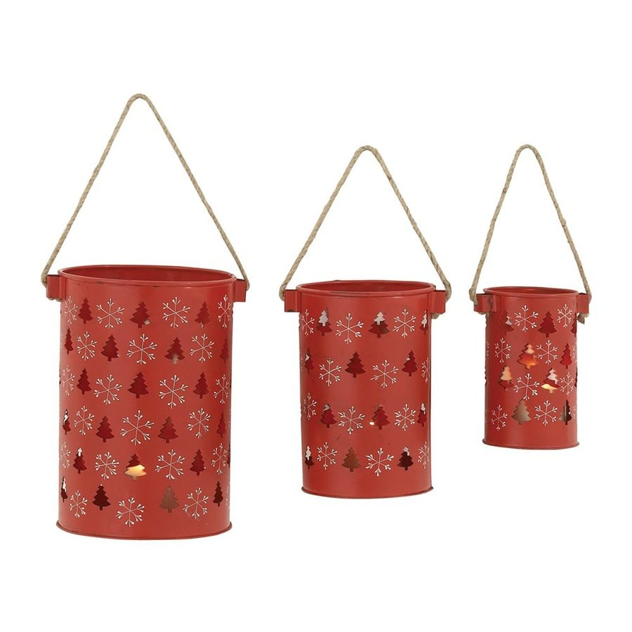 Woodland Imports 3 Candle Red Metal Lantern Christmas Candle Holder