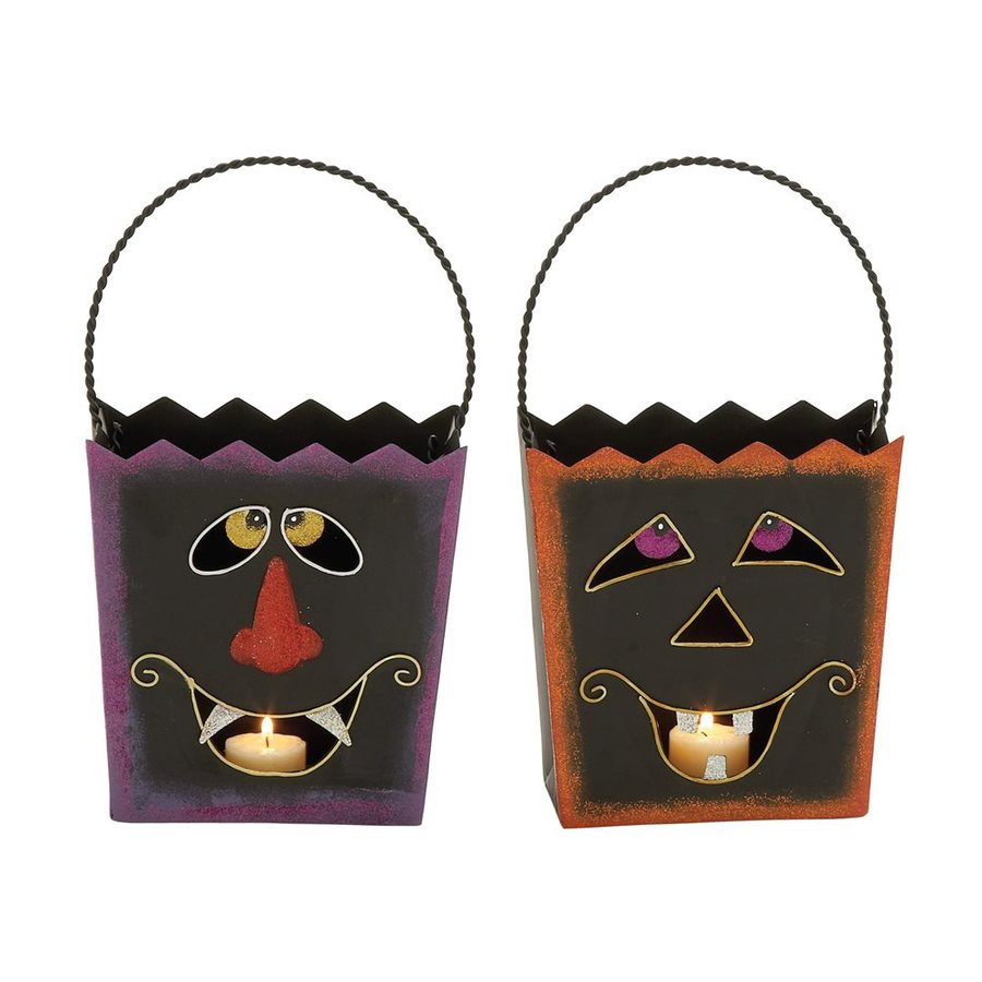 Woodland Imports Set of 2 Metal Tabletop Jack-O-Lantern Candle Holders