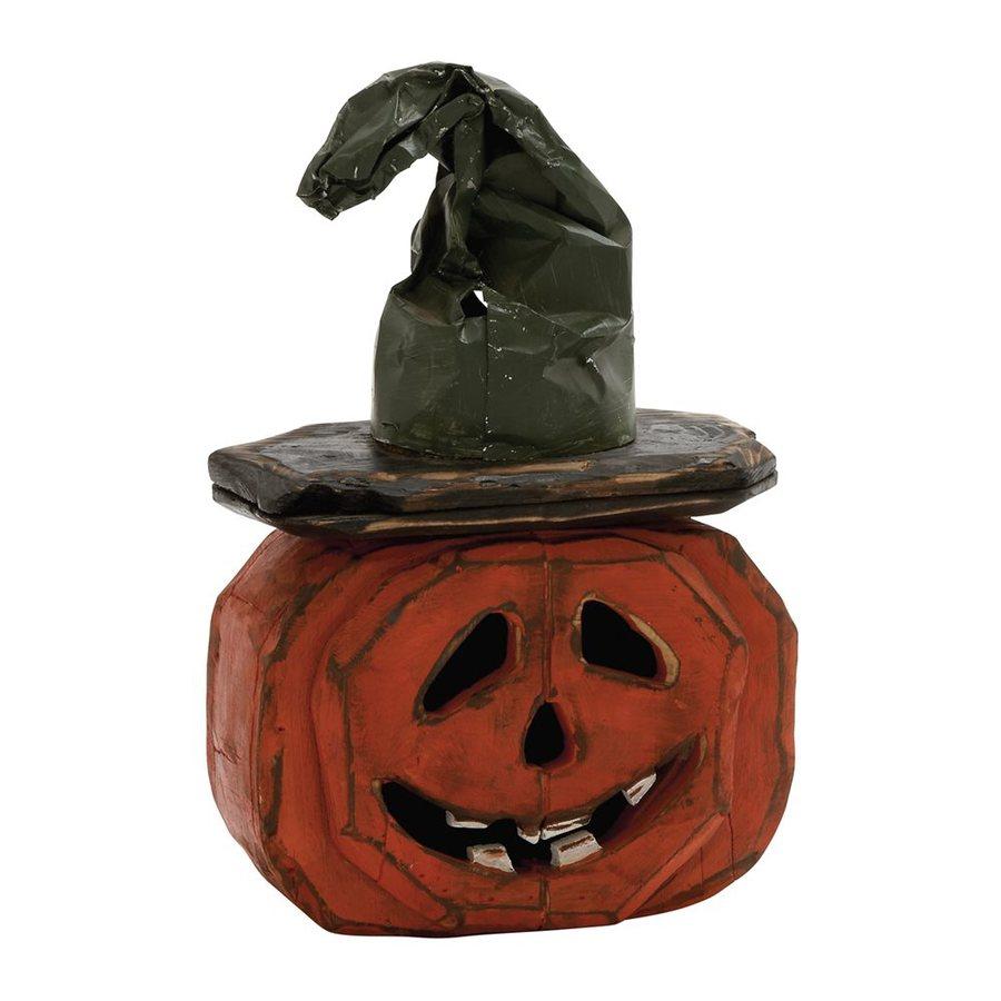 Woodland Imports Wood Tabletop Jack-O-Lantern Sculpture