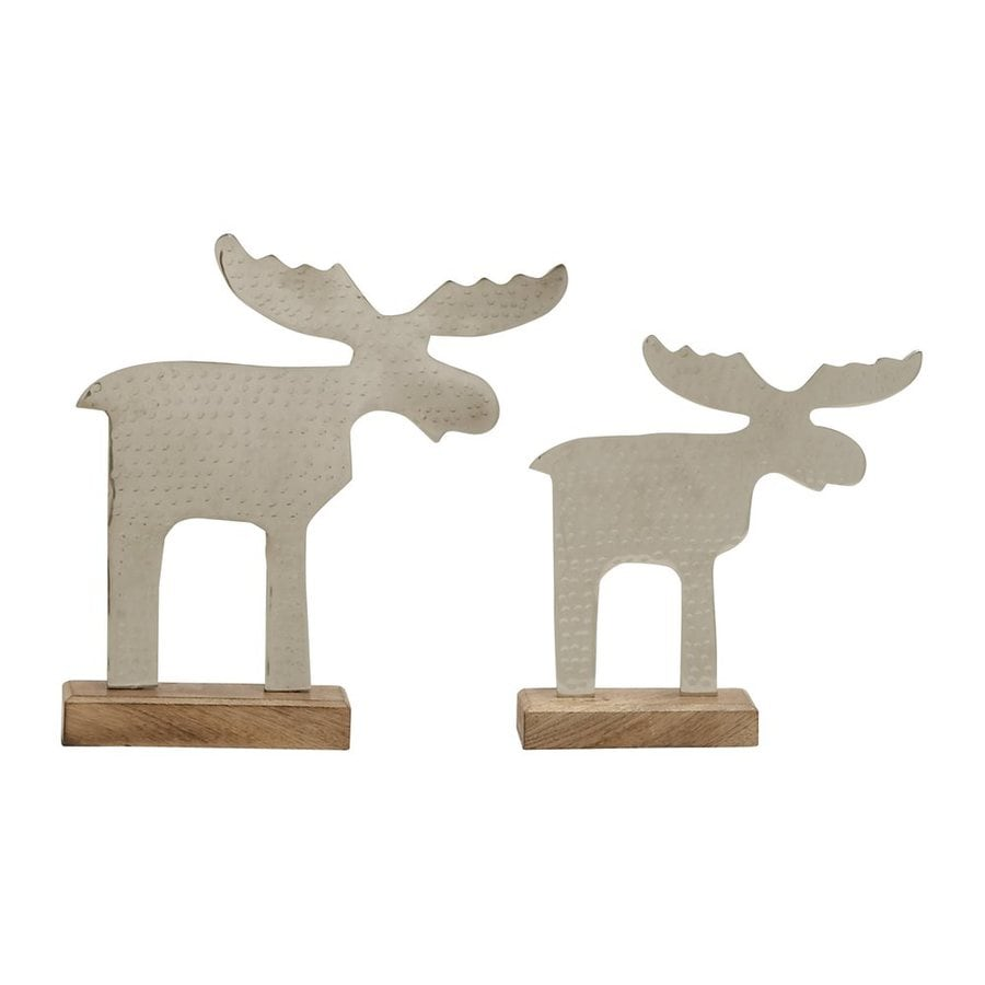 Woodland Imports 2-Pack Metal and Wood Moose Statues