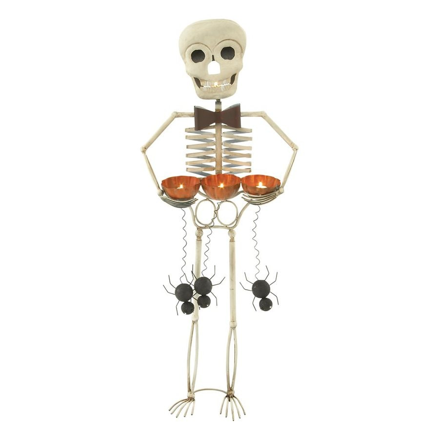 Woodland Imports Metal Freestanding Skeleton Candle Holder