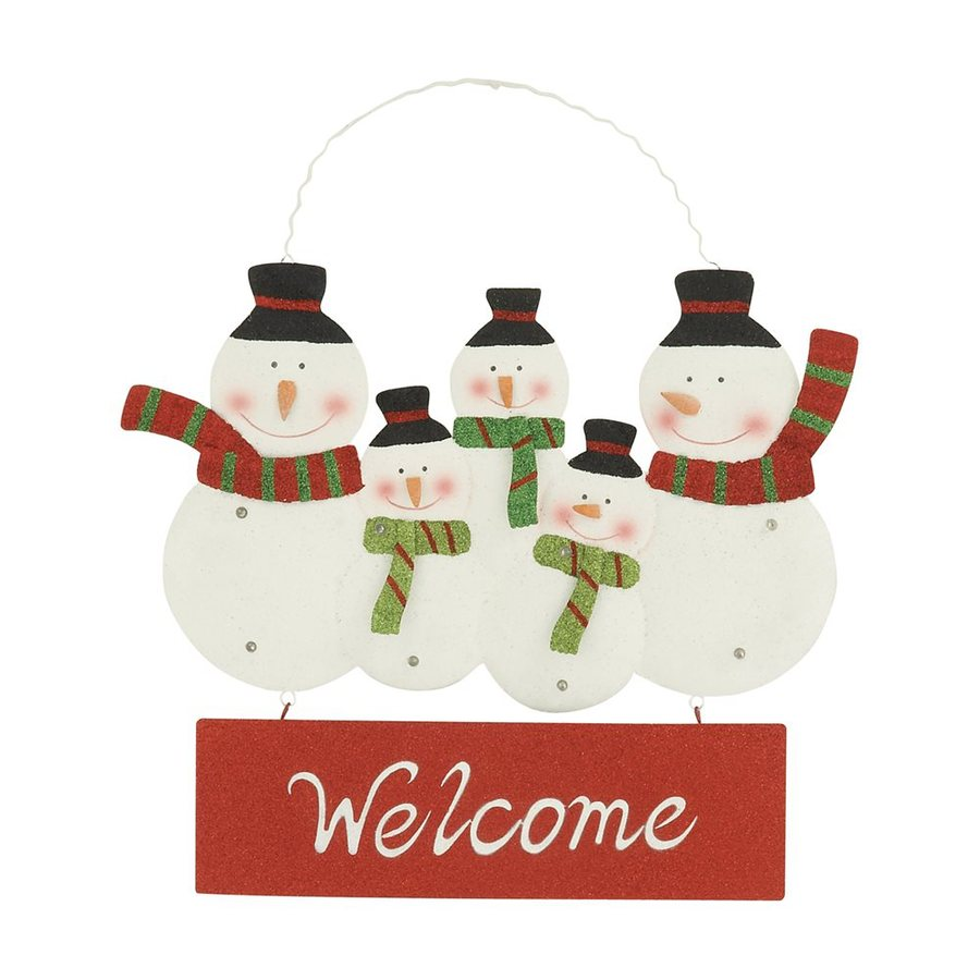 Woodland Imports Pre-Lit Snowman Sign with Constant White LED Lights