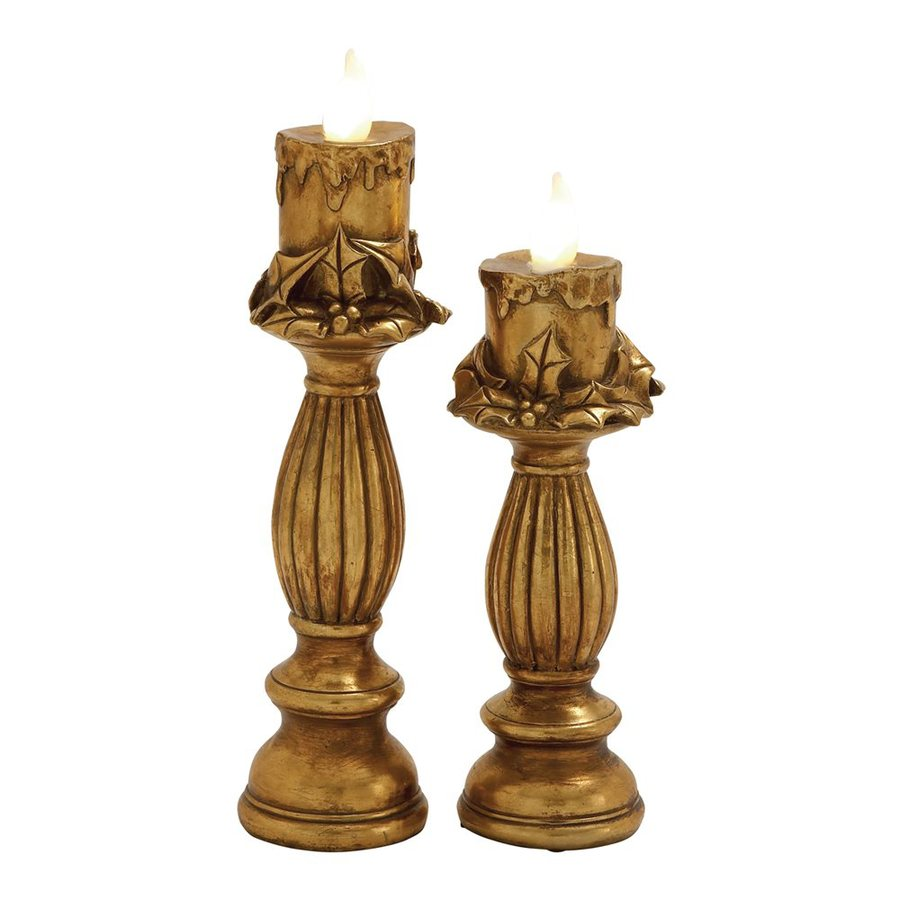Woodland Imports 2-Pack Lighted Tabletop Candle Indoor Christmas Decorations