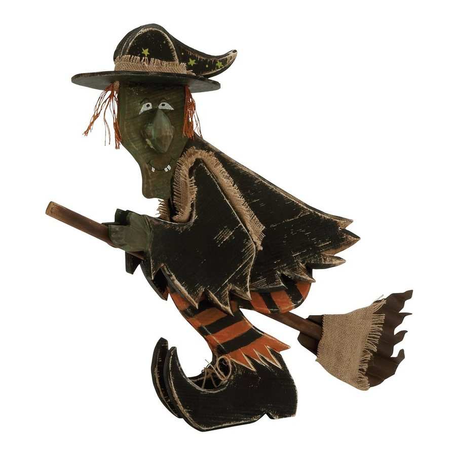 Woodland Imports Wood Tabletop Witch Sculpture