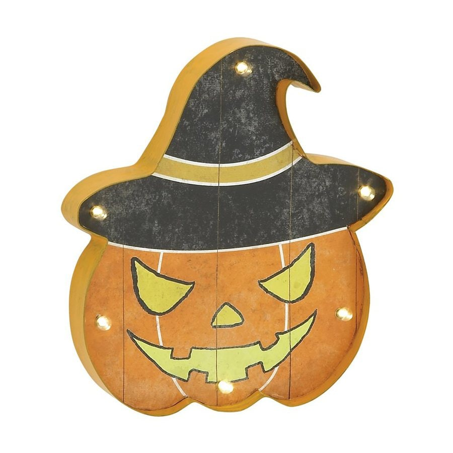 Woodland Imports Lighted Metal Wall-Mounted Jack-O-Lantern Novelty Light with White LED Lights