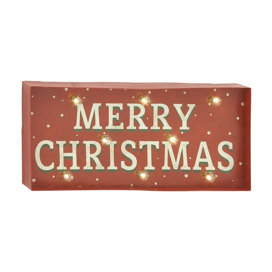 Woodland Imports Pre-Lit Merry Christmas Sign with Constant White LED Lights