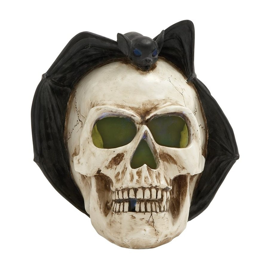 Woodland Imports Lighted Resin Tabletop Skull Sculpture with White LED Lights
