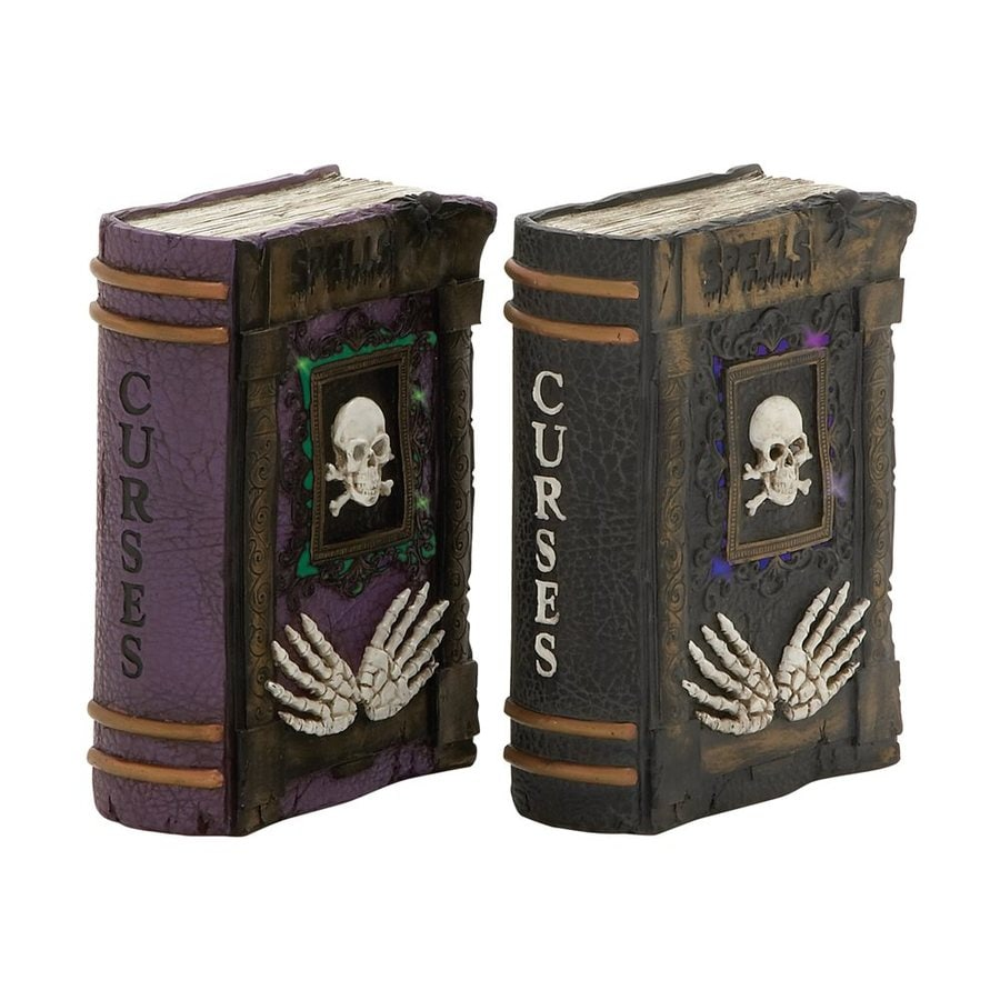 Woodland Imports Set of 2 Lighted Curses Resin Tabletop Spellbook Sculptures with White LED Lights