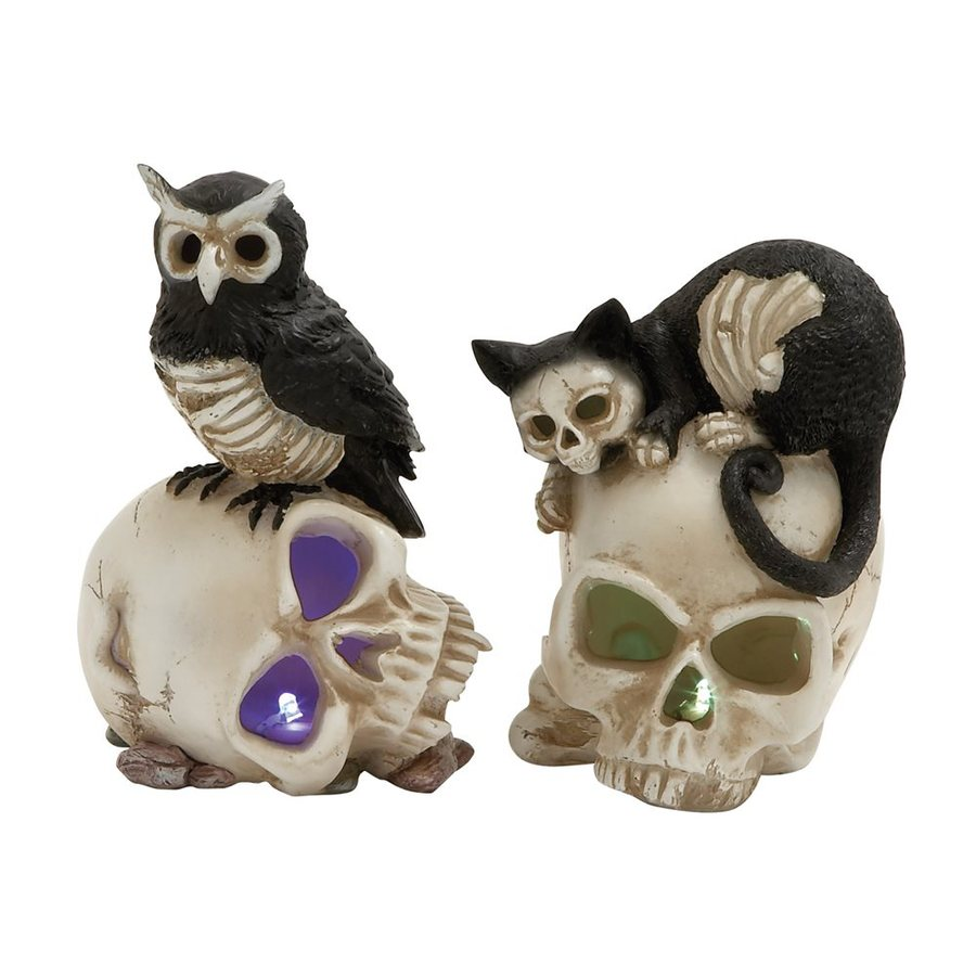 Woodland Imports Set of 2 Lighted Resin Tabletop Skull Sculptures with White LED Lights