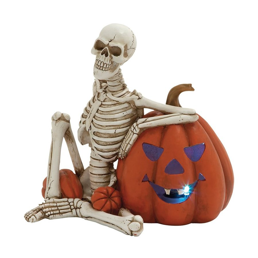 Woodland Imports Lighted Resin Tabletop Skeleton and Pumpkin Sculpture with White LED Lights