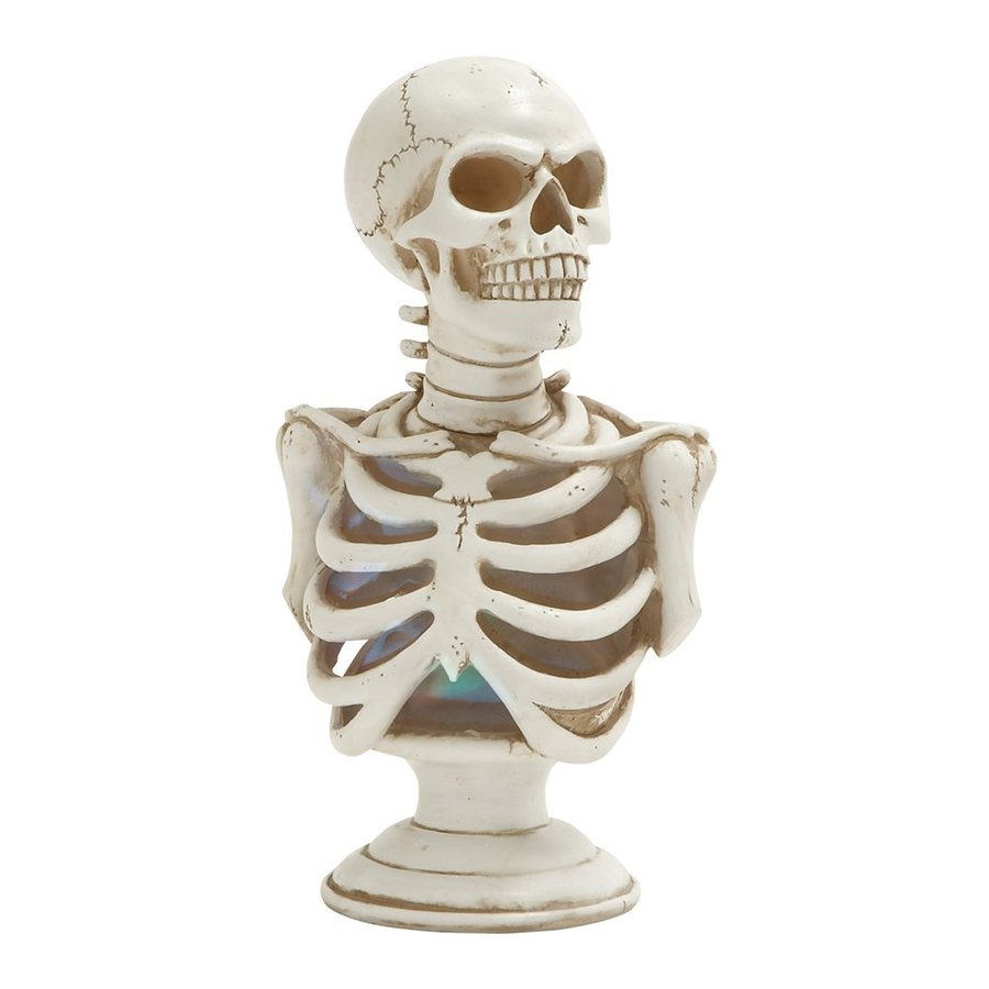 Woodland Imports Lighted Resin Tabletop Skeleton Sculpture with White LED Lights