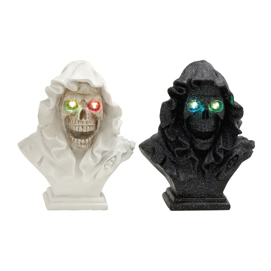 Woodland Imports Set of 2 Lighted Resin Tabletop Skull Sculptures with Multicolor LED Lights