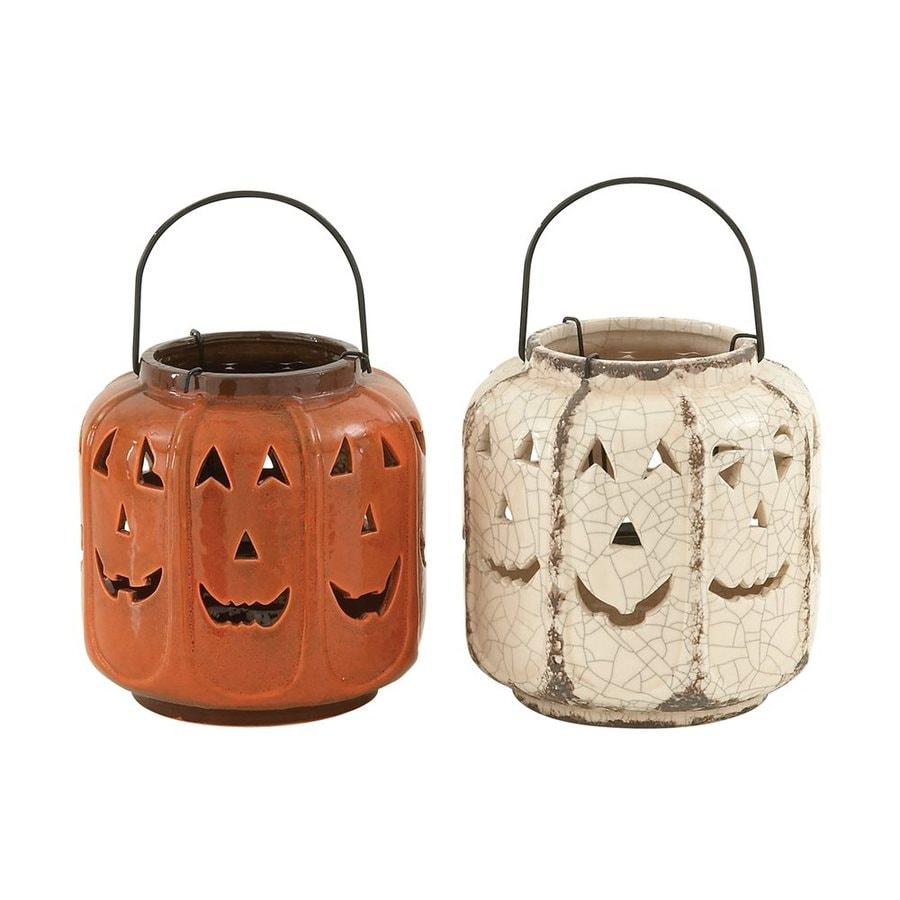 Woodland Imports Set of 2 Ceramic Hanging Jack-O-Lantern Lanterns