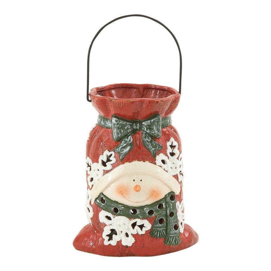 Woodland Imports 1 Candle Multicolor Ceramic Lantern Christmas Candle Holder