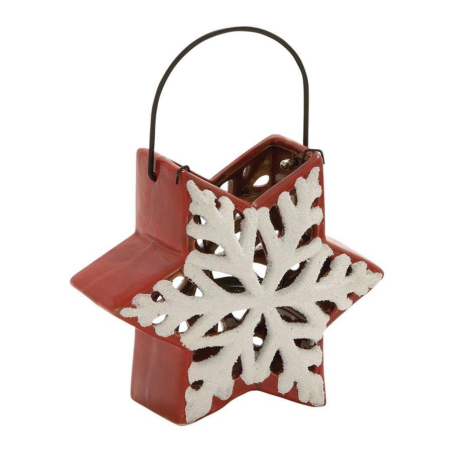 Woodland Imports 1 Candle Orange/White Ceramic Lantern Christmas Candle Holder
