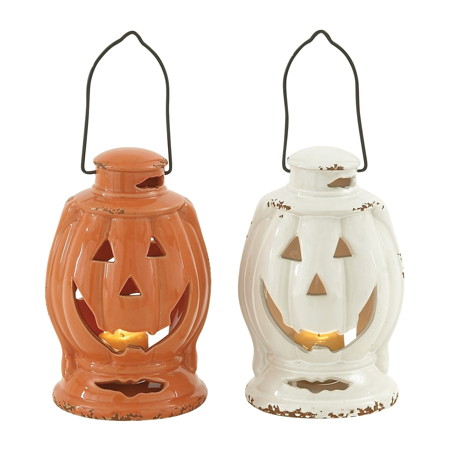 Woodland Imports Set of 2 Ceramic Hanging Jack-O-Lantern Lanterns