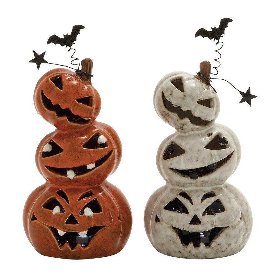 Woodland Imports Set of 2 Lighted Ceramic Tabletop Pumpkin Stack Sculptures with LED Lights
