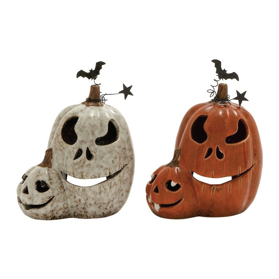 Woodland Imports Set of 2 Ceramic Tabletop Jack-O-Lantern Sculptures
