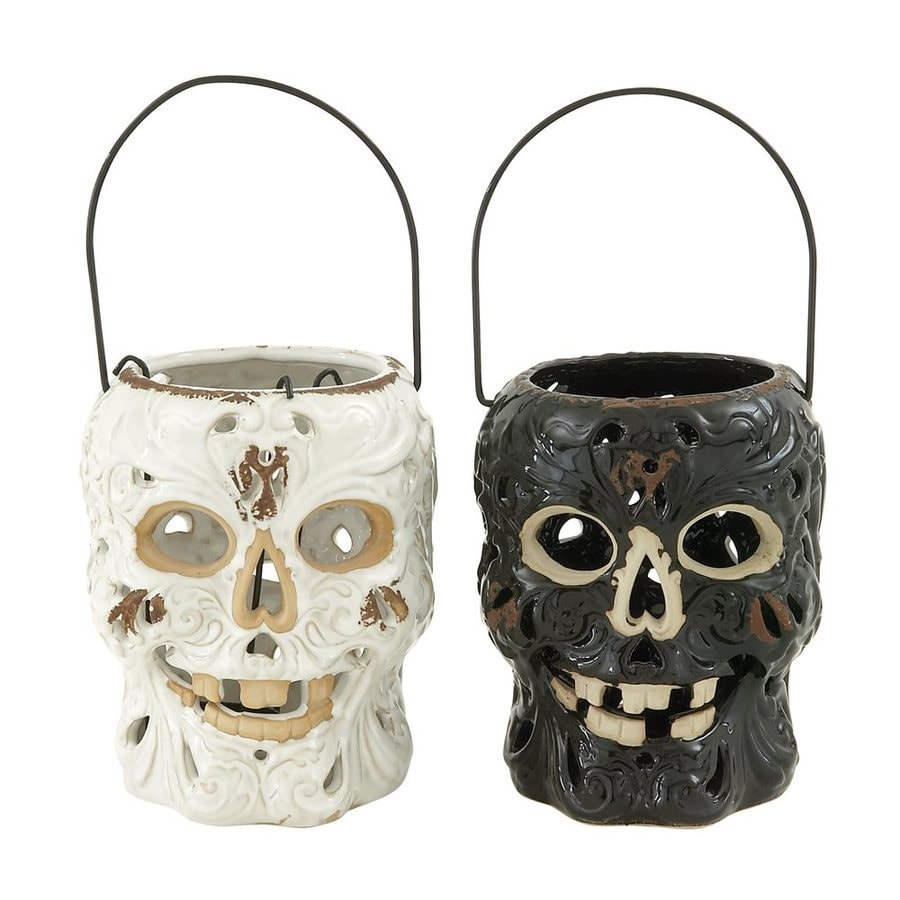 Woodland Imports Set of 2 Ceramic Hanging Skull Lanterns