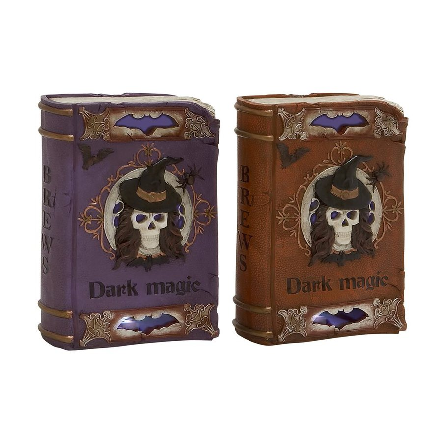 Woodland Imports Lighted Brews and Dark Magic Resin Tabletop Spellbook Sculptures with LED Lights