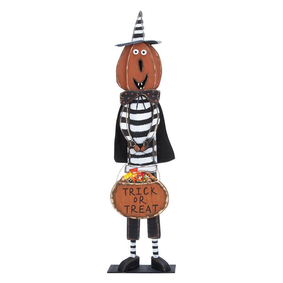 Woodland Imports Trick or Treat Wood Freestanding Jack-O-Lantern Greeter