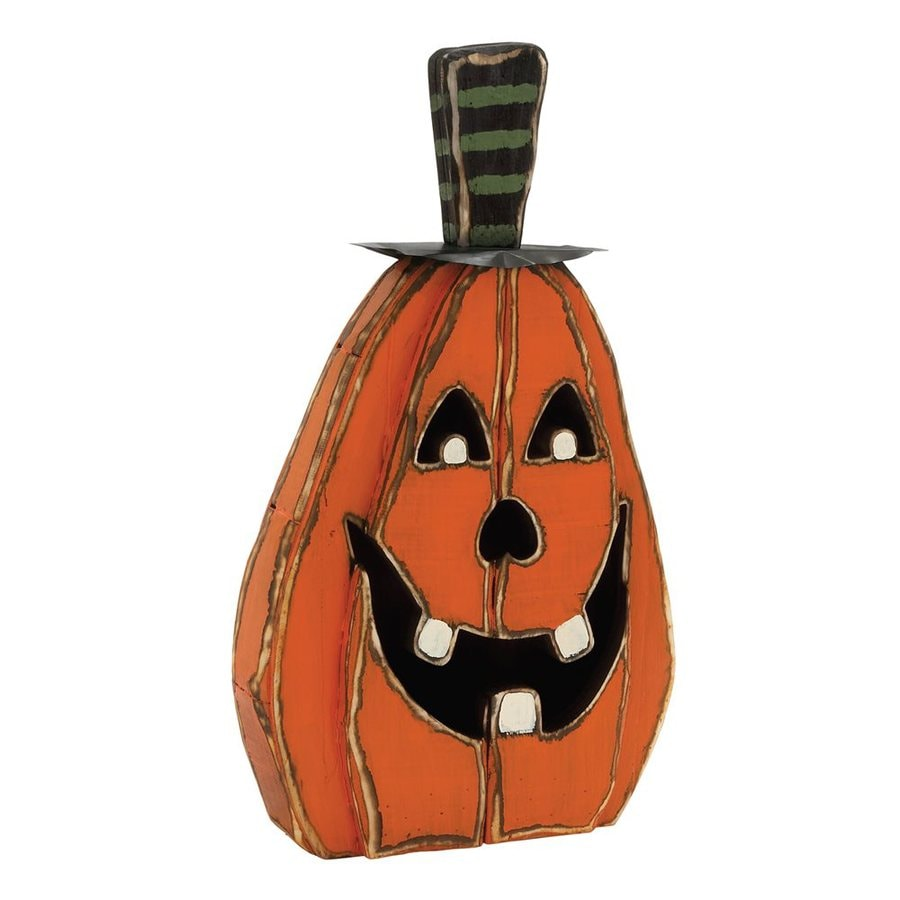 Woodland Imports Wood Freestanding Jack-O-Lantern Sculpture