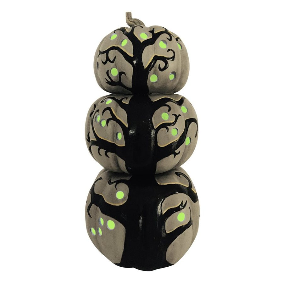 Woodland Imports Lighted Resin Tabletop Pumpkin Stack Sculpture with LED Lights