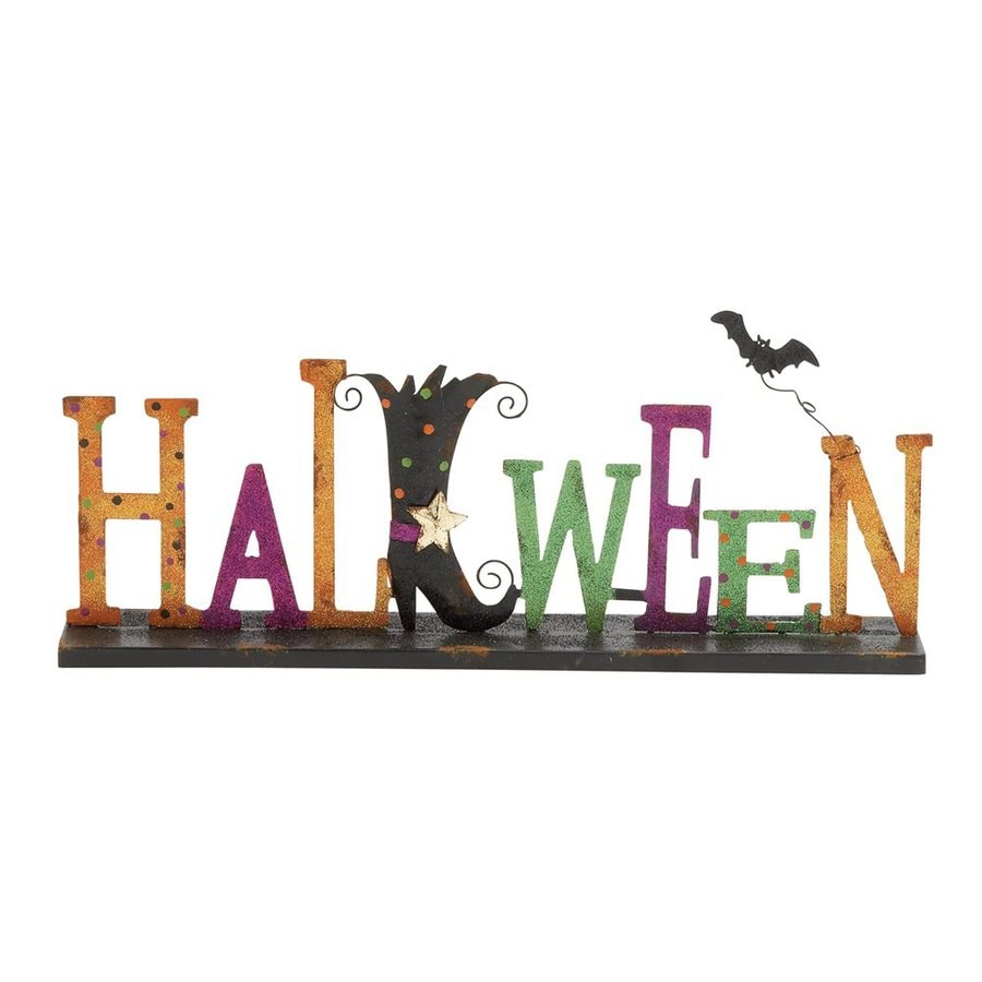 Woodland Imports Halloween Metal Tabletop Witch Shoe Sign
