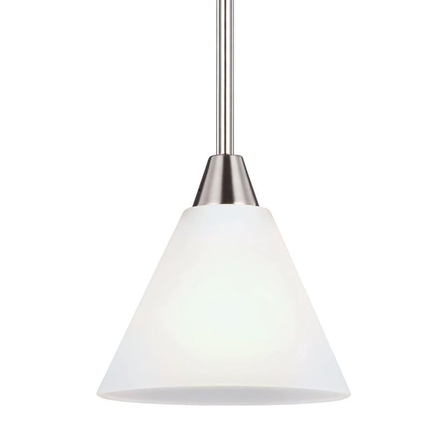Sea Gull Lighting Ashburne 7-in Brushed Nickel Mini Etched Glass Cone Pendant