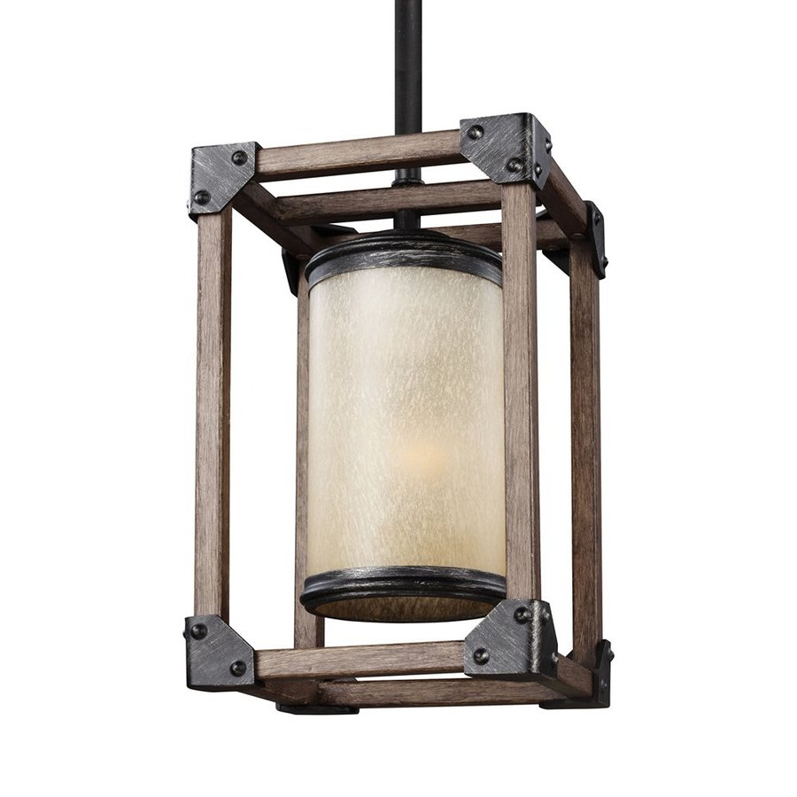Sea Gull Lighting Dunning 6-in Stardust Rustic Mini Tinted Glass Cage Pendant