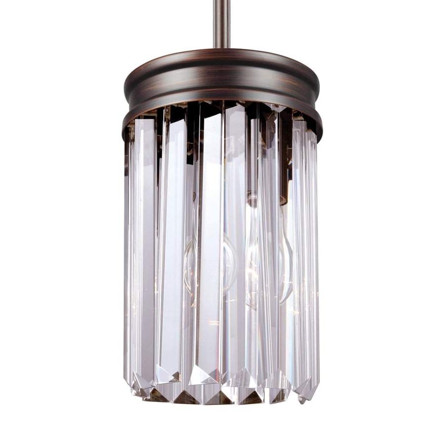 Sea Gull Lighting Carondelet 5.125-in Burnt Sienna Crystal Mini Clear Glass Cylinder Pendant