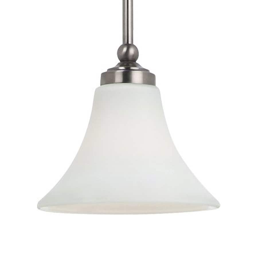 Sea Gull Lighting Montreal 7.75-in Antique Brushed Nickel Mini Etched Glass Bell Pendant