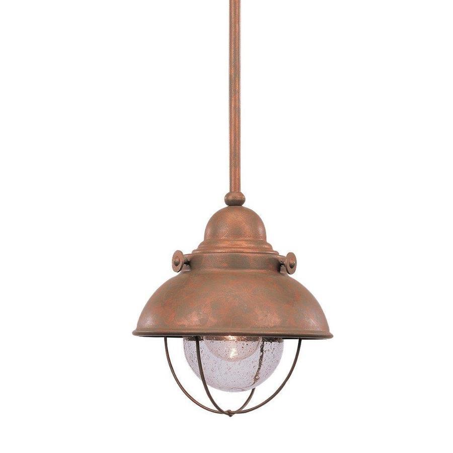 Sea Gull Lighting Sebring 8-in Weathered Copper Barn Mini Seeded Glass Warehouse Pendant