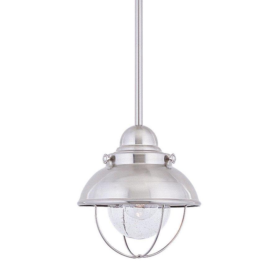 Sea Gull Lighting Sebring 8-in Brushed Stainless Barn Mini Seeded Glass Warehouse LED Pendant