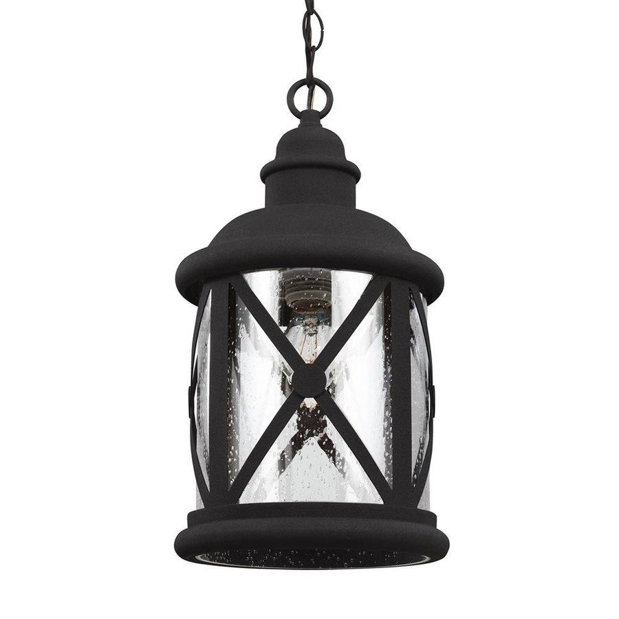 Sea Gull Lighting Lakeview 15.25-in Black Outdoor Pendant Light