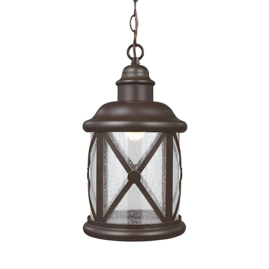Sea Gull Lighting Lakeview 15.25-in Antique Bronze Outdoor Pendant Light