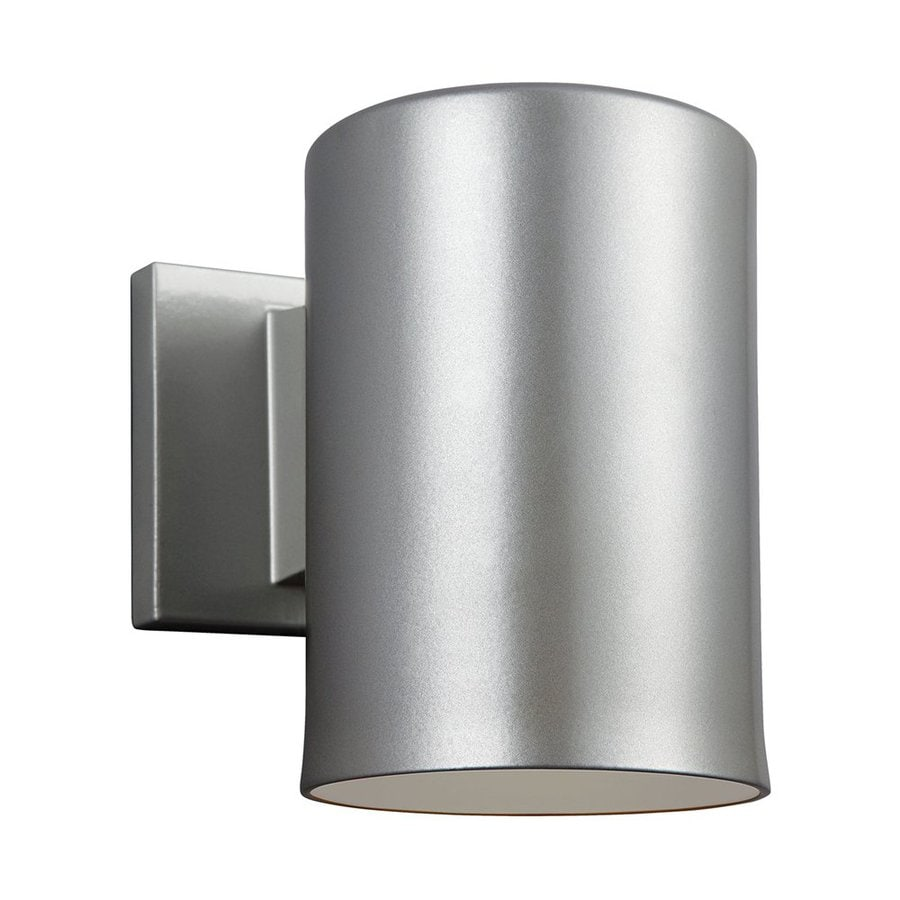 Sea Gull Lighting Outdoor Bullets 7.25-in H Painted Brushed Nickel Dark Sky Outdoor Wall Light ENERGY STAR