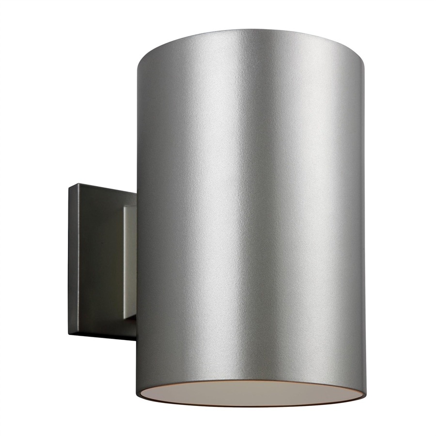 Sea Gull Lighting Outdoor Bullets 9-in H Painted Brushed Nickel Dark Sky Outdoor Wall Light