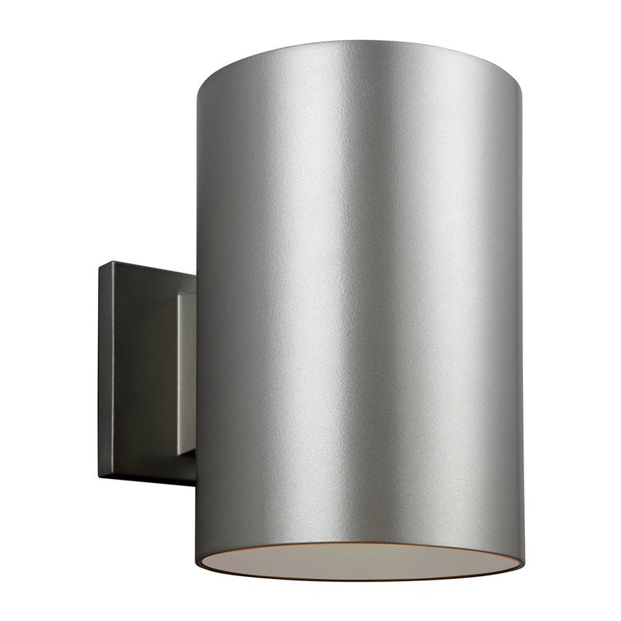 Sea Gull Lighting Outdoor Bullets 9-in H Painted Brushed Nickel Dark Sky Outdoor Wall Light ENERGY STAR