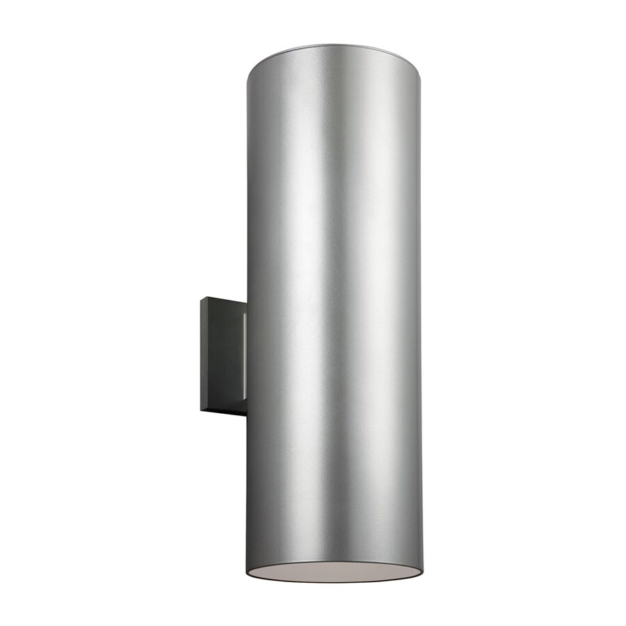 Sea Gull Lighting Outdoor Bullets 18.25-in H Painted Brushed Nickel Outdoor Wall Light