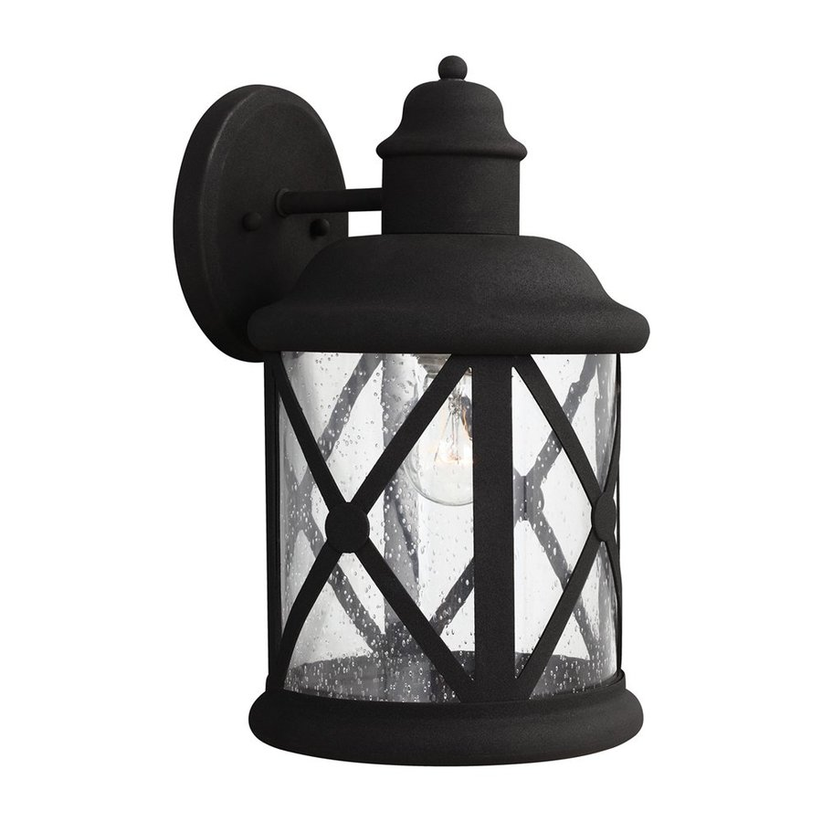 Sea Gull Lighting Lakeview 14-in H Black Outdoor Wall Light
