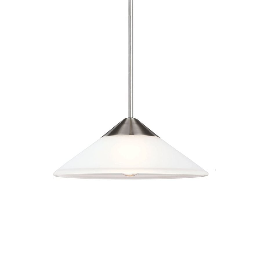 Sea Gull Lighting Ashburne 15.375-in Brushed Nickel Single Etched Glass Cone Pendant