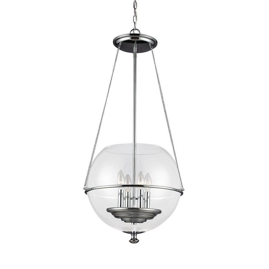 Sea Gull Lighting Havenwood 17.5-in Chrome Vintage Single Clear Glass Globe Pendant