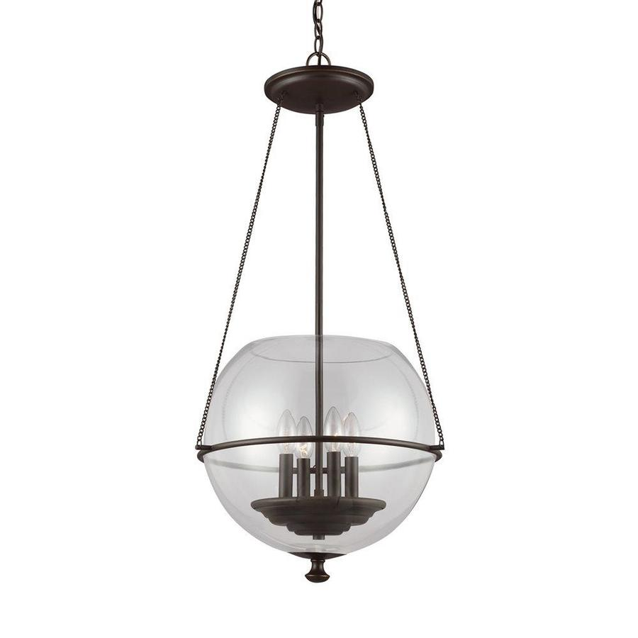 Sea Gull Lighting Havenwood 17.5-in Autumn Bronze Vintage Single Clear Glass Globe Pendant