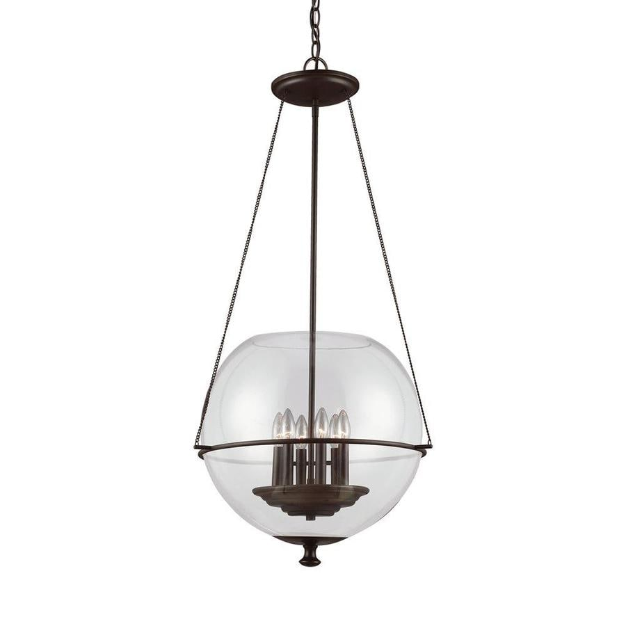 Sea Gull Lighting Havenwood 21-in Autumn Bronze Vintage Single Clear Glass Globe Pendant