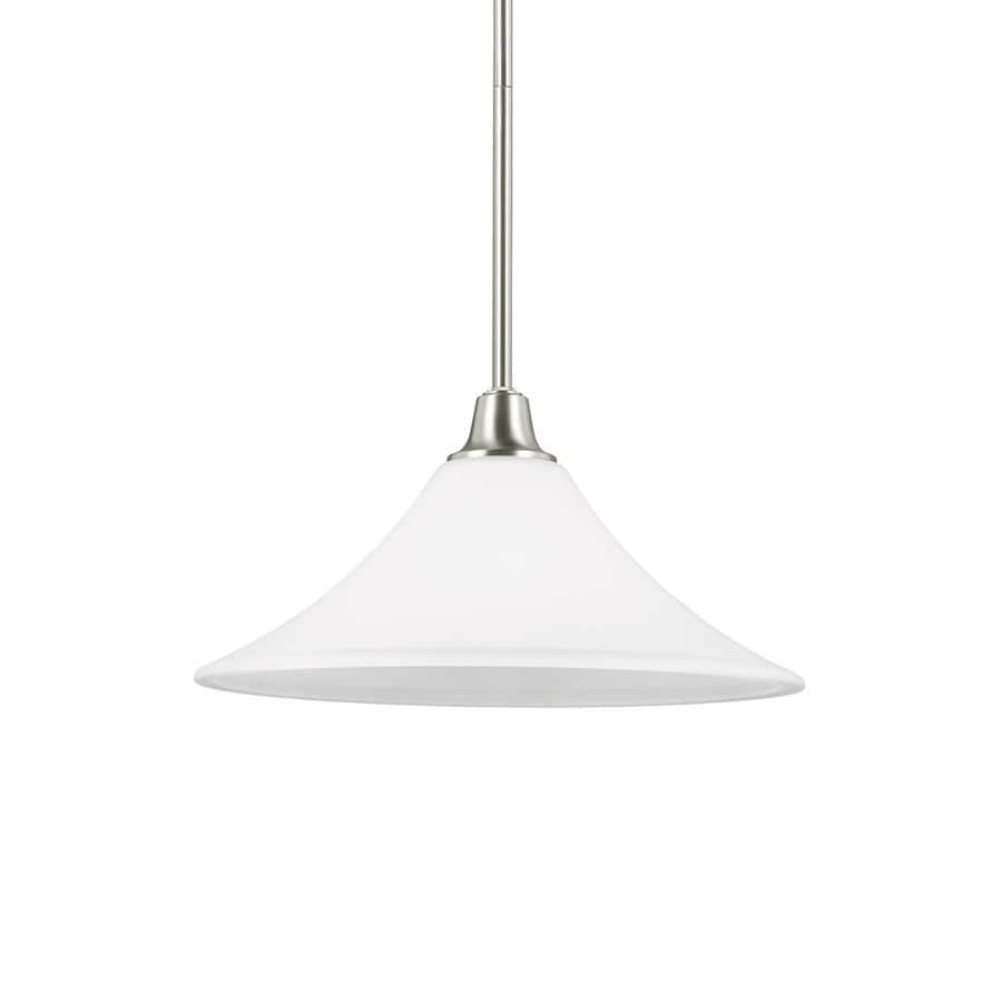 Sea Gull Lighting Metcalf 15-in Brushed Nickel Single Etched Glass Bell Pendant