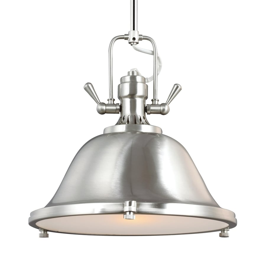 Sea Gull Lighting Stone Street 13.25-in Brushed Nickel Industrial Single Etched Glass Warehouse Pendant
