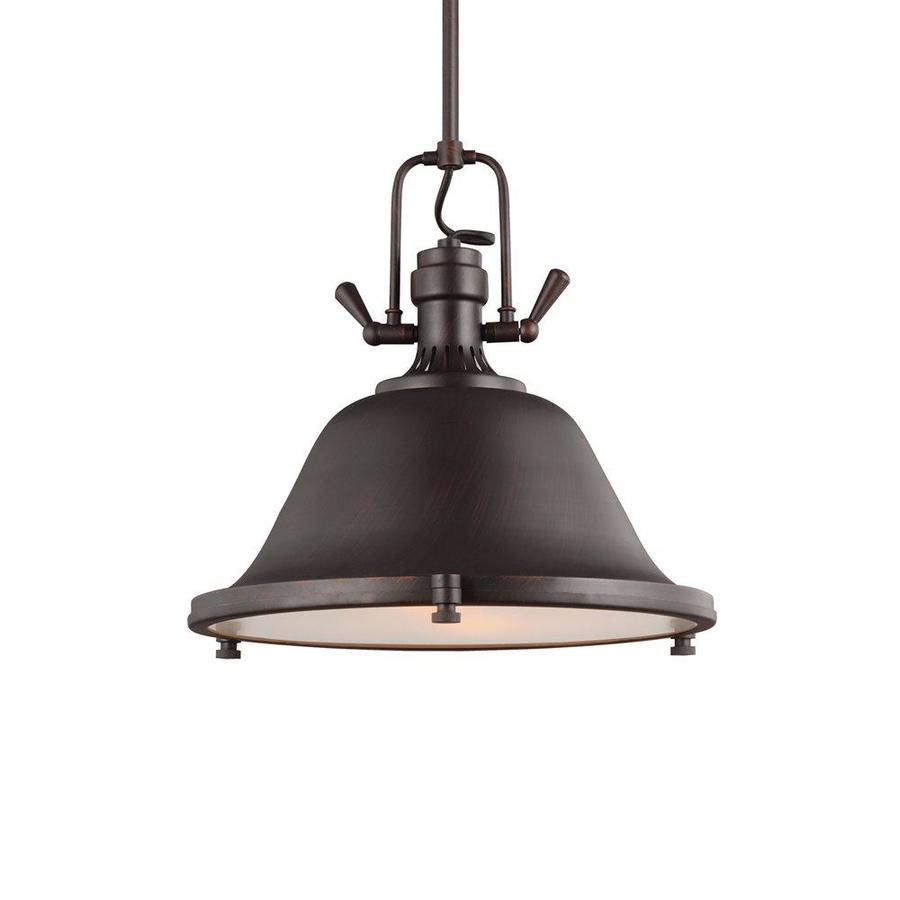 Sea Gull Lighting Stone Street 17.25-in Burnt Sienna Industrial Single Etched Glass Warehouse Pendant