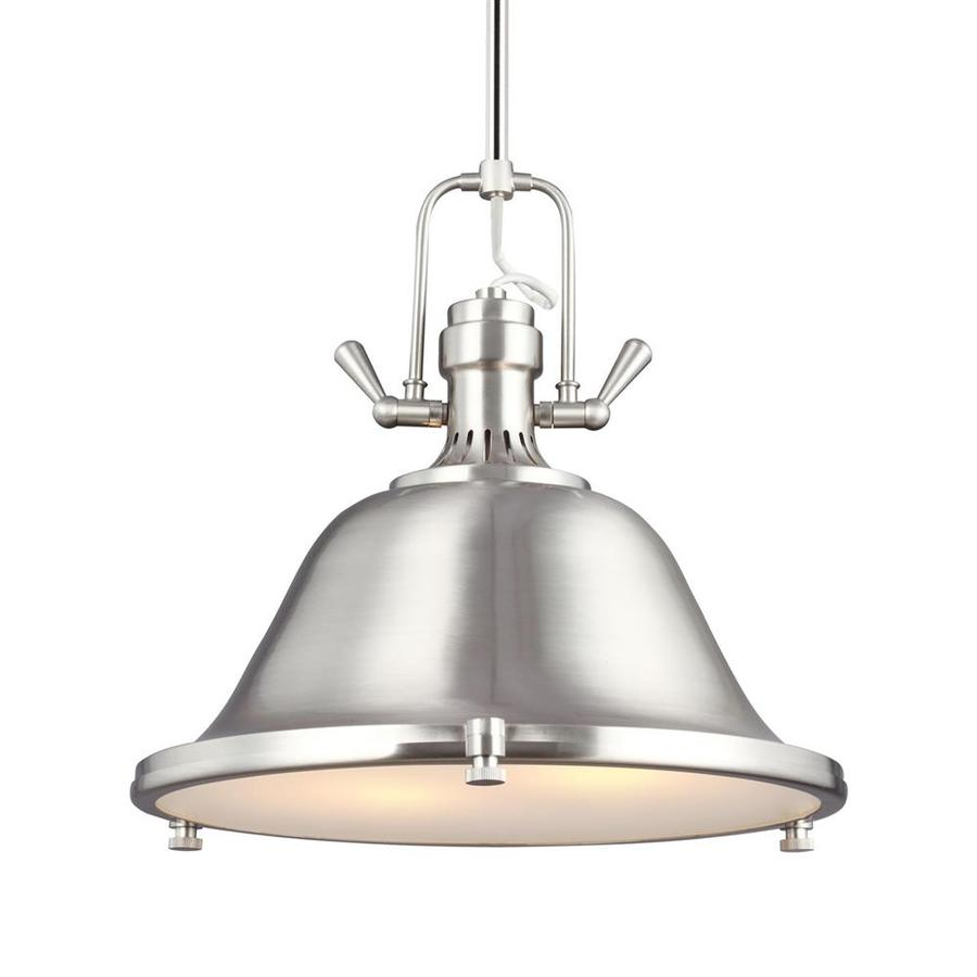 Sea Gull Lighting Stone Street 17.25-in Brushed Nickel Industrial Single Etched Glass Warehouse Pendant